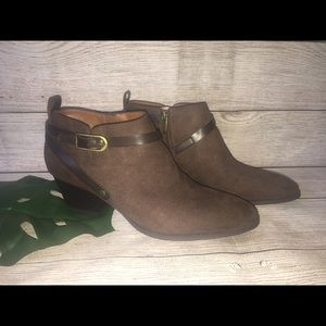 Franco Sarto brown suede ankle booties sz 9.5 NWOT